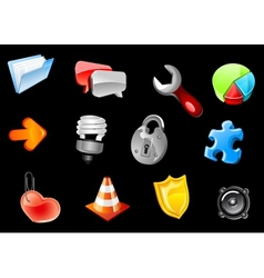 Glossy icons for web design vector image