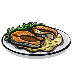 Grilled salmon and sauce vector image