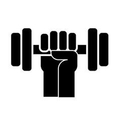 strong hand with dumbbell icon vector image vector image