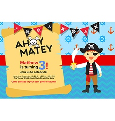 Pirate party invitation royalty free vector image ahoy matey pirate boy birthday invitation card vector image stopboris