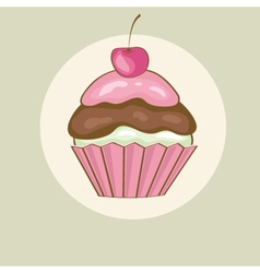 Birthday card with cherry cupcake vector image vector image