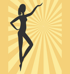 Black woman silhouette on yellow rays background vector