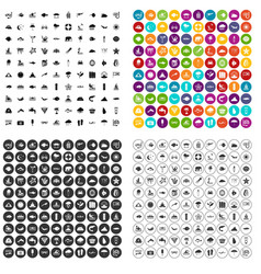 100 diving icons set variant vector