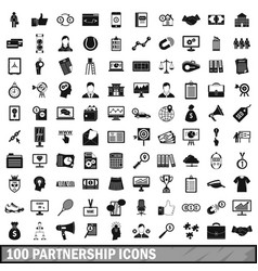 100 partnership icons set simple style vector