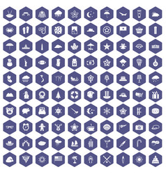 100 star icons hexagon purple vector