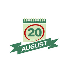 20 august calendar with ribbon vector
