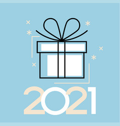 2021 happy new year background holiday gift card vector image