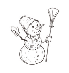 a sketch a snowman with a bucket on his head vector image