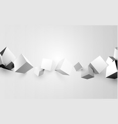 abstract white 3d boxes background vector image