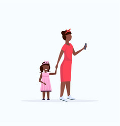 african american woman using cellphone while vector image