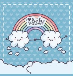 Bashower cartoon clouds holding hands rainbow vector