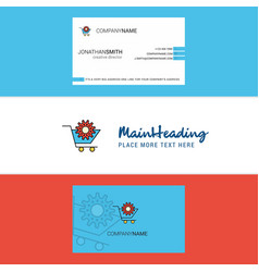 beautiful cart setting logo and business card vector image