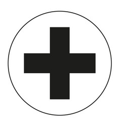 Black and white medical cross symbol silhouette vector