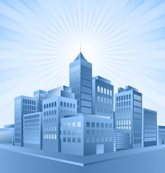 Blue city sunrise vector