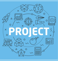Blue line flat circle project vector
