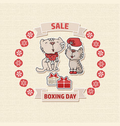 boxing day sale offer card with a cat box vector image