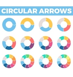 Business infographics Circular arrows with 1 - 12 vector
