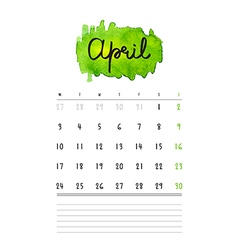 calendar 2017 template with green watercolor stain vector image