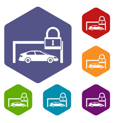 Car and padlock icons set vector