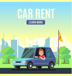 Car rental poster concept cartoon-style vector