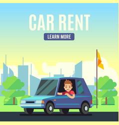 Car rental poster concept cartoon-style vector