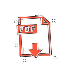 cartoon pdf icon in comic style pdf document vector image
