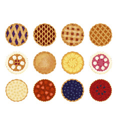 collection pies top view flat vector image