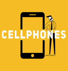 creative word concept cellphone and people calling vector image