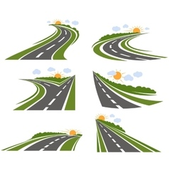Curvy Roads Landscape Set vector