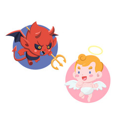 cute cartoon style little devil and angel vector image