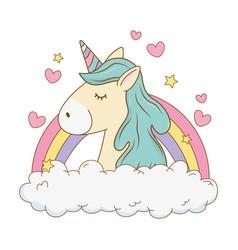 Cute fairytale unicorn in clouds with rainbow vector