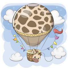 Cute giraffe is flying on a hot air balloon vector