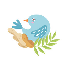 cute light blue bird sitting on branch of tree vector image