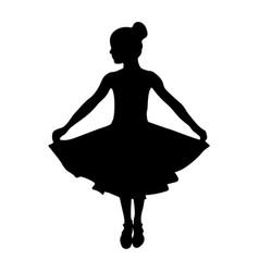 Dancing girl in dress black silhouette vector