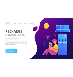 Eco recharge stations in smart city concept vector