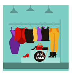 Fashion clothing shop or woman dress boutique sale vector