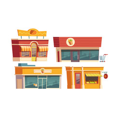 fast food restaurant and shops building cartoon vector image