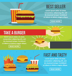 Fastfood tasty banner horizontal set flat style vector