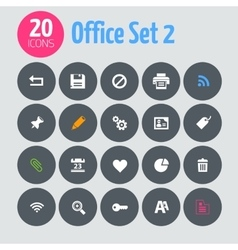 Flat minimalistic office 2 icons on dark gray vector image
