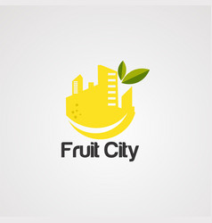 Fruit city logo icon element and template vector