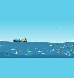 Garbage in the sea vector