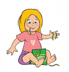 girl eating candy vector image