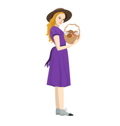 girl with a basket mushrooms isolated vector image
