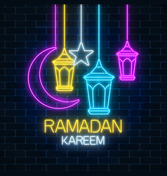 Glowing neon ramadan holy month sign on dark vector