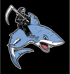 grim reaper rides a shark vector image