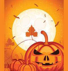 Halloween background with smiling pumpkin and moon vector