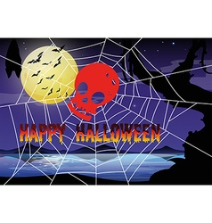 Halloween theme with spider web and skull vector