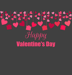 happy valentines day background with hearts and vector image