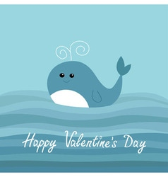 Happy Valentines Day Love card Cartoon whale in vector