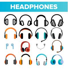 headphones icon set audio stereo vector image